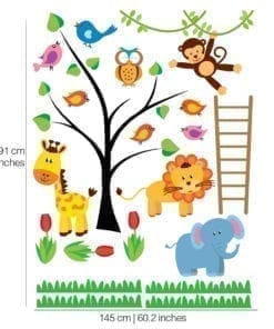 Jungle Animals Stickers Dimensions