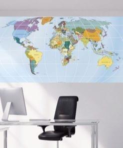 Rectangular World Map Sticker