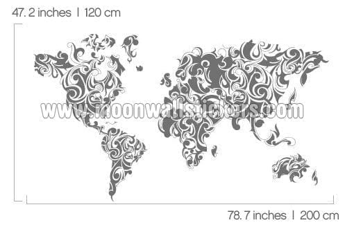 Tribal Floral World Map Sticker