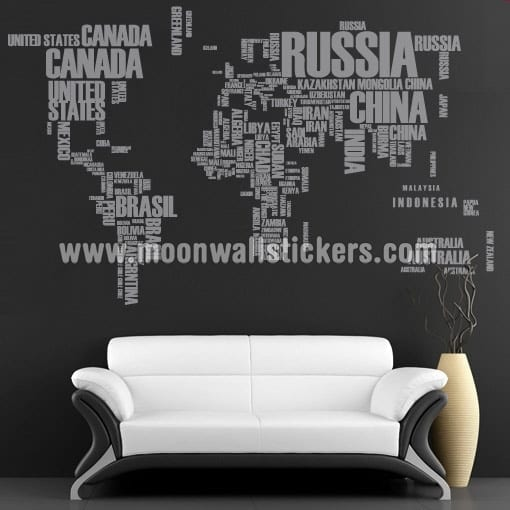 World Map Text Sticker Moon Wall Stickers