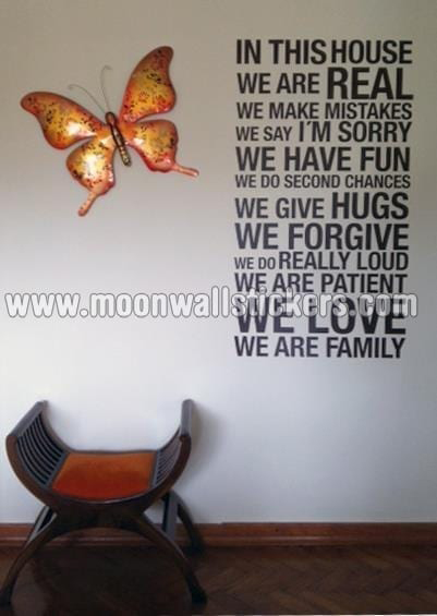 In This House We Are Real Wall Sticker Moonwallstickers Com