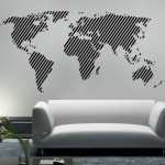 Diagonal Lines World Map Sticker