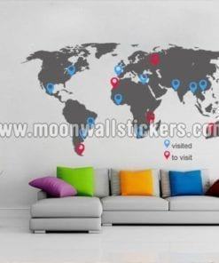 World Map With Pins Sticker