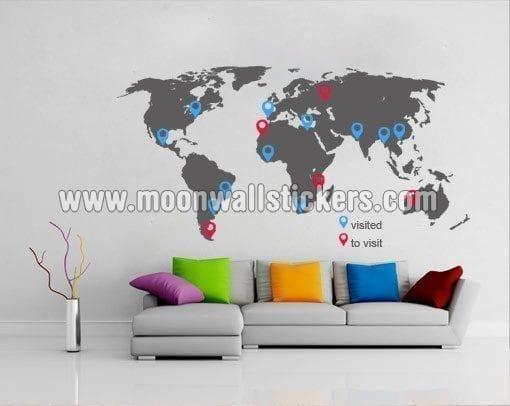 World Map With Pins Sticker
