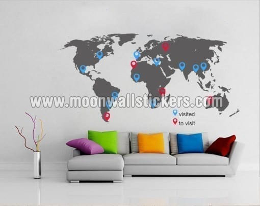 World map with pins sticker moonwallstickers world map with pins sticker gumiabroncs Images