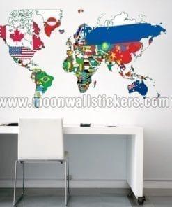 Flags World Map Sticker