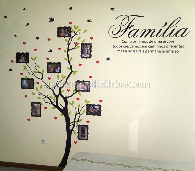 family tree with photo frames wall sticker with quote in