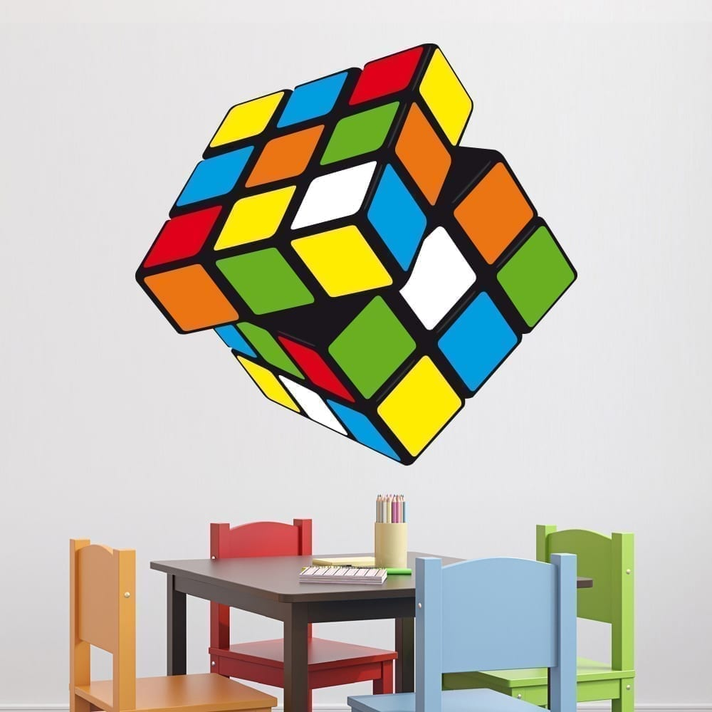 Rubiks cube sticker moon wall stickers
