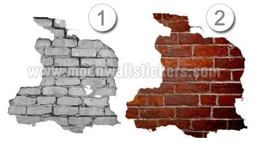 Brick wall stickers moon wall stickers for Brick wall mural decal