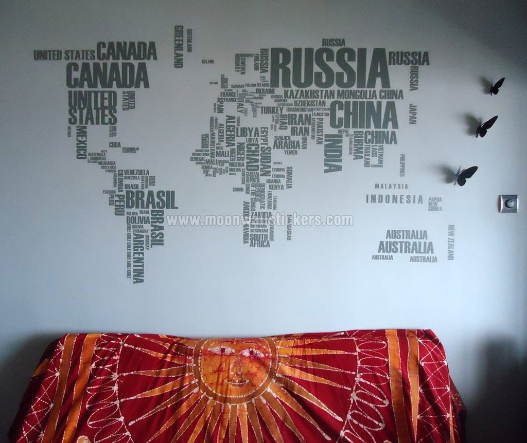 Customer images moonwallstickers world map with country names wall sticker gumiabroncs Gallery