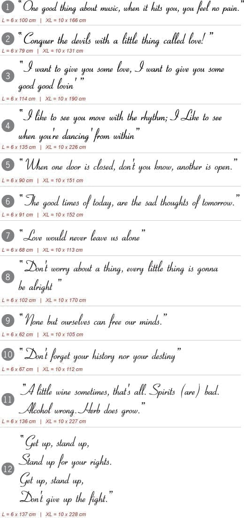 Bob Marley Lyrics Sticker Moonwallstickers