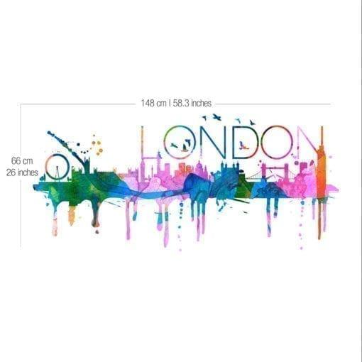 London Skyline Watercolor - Dimensions