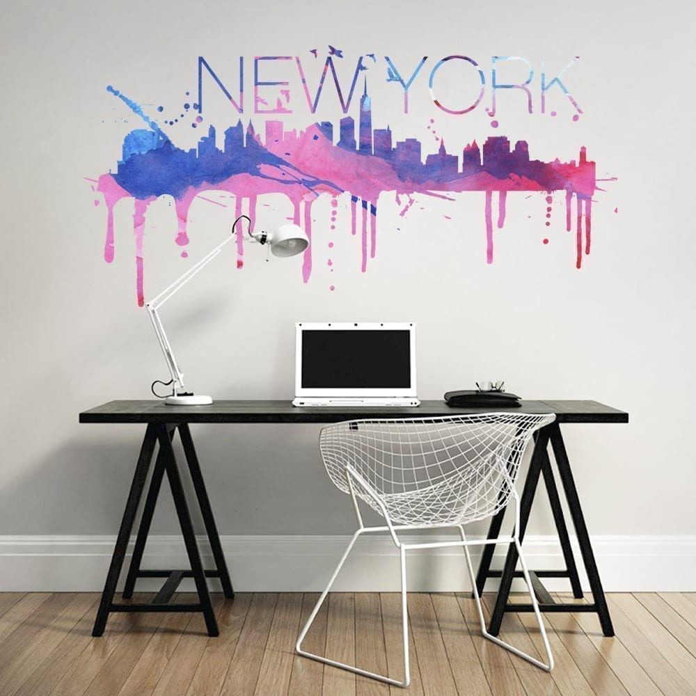 Genial Wandtattoo New York Dekoration Von Skyline Watercolor