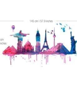 World Travel Watercolor Sticker - Dimensions