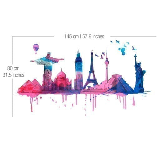 World Travel Watercolor Sticker - Dimensions