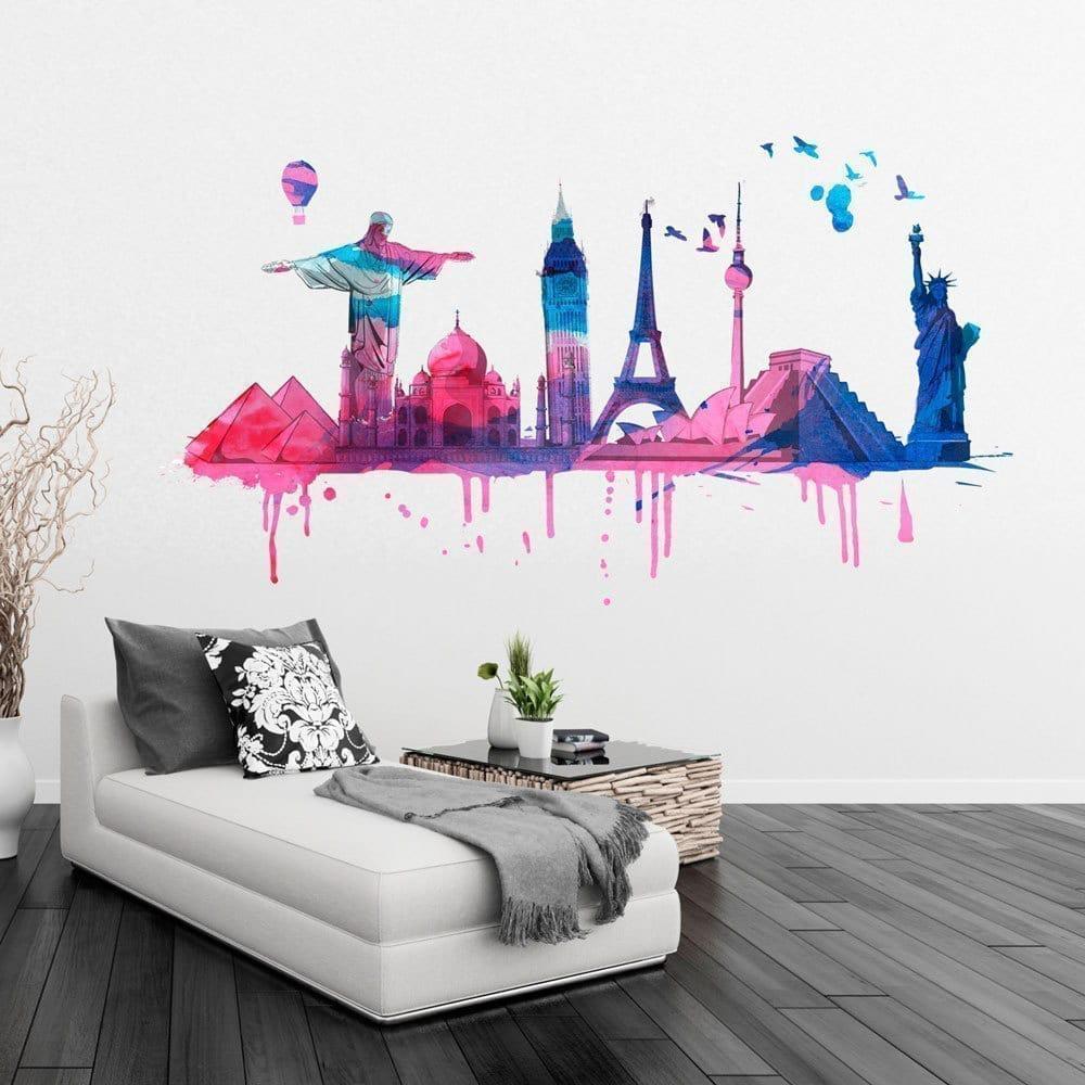 World Travel Watercolor Sticker Moonwallstickers Com