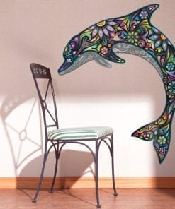 Colorful Floral Dolphin Stickers