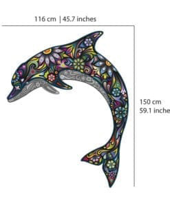 Colorful Floral Dolphin Stickers - Dimensions