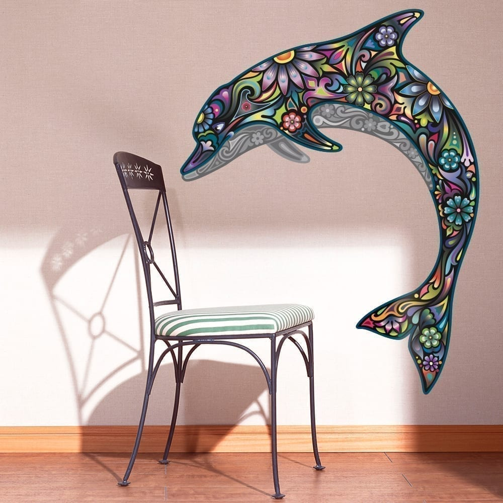 colorful floral dolphin stickers moon wall stickers colorful birds wall sticker