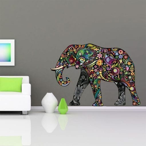 Colorful Floral Elephant Stickers