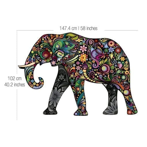 Colorful Floral Elephant Stickers Dimensions
