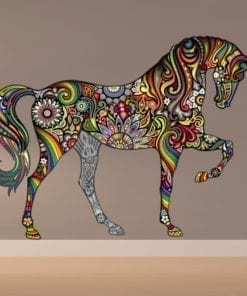 Colorful Floral Horse Stickers