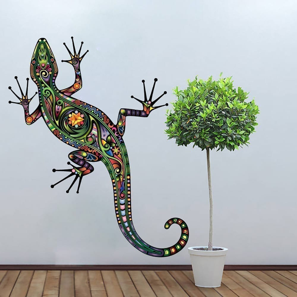 Colorful Floral Lizard Stickers