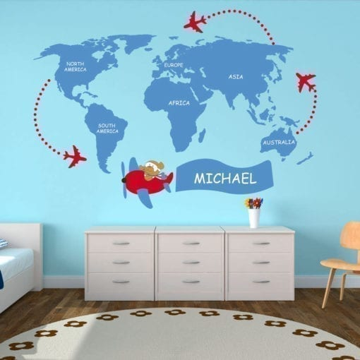 Kids World Map Sticker