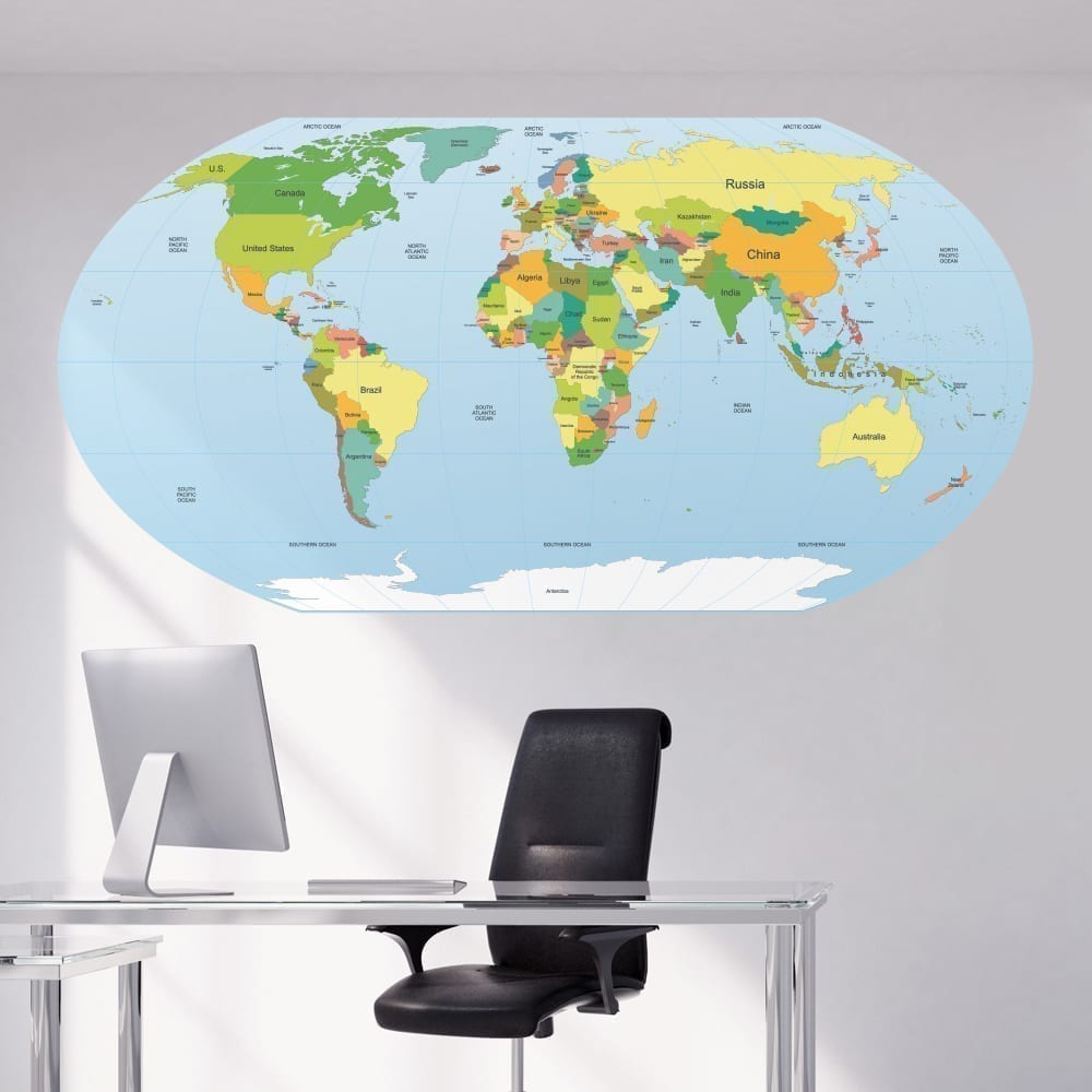 Rounded World Map Sticker