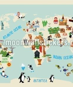 Penguin Map Of The World.World Map Stickers