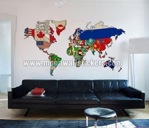 Vinilo vintage mapa mundo banderas for Vinilo mapa del mundo
