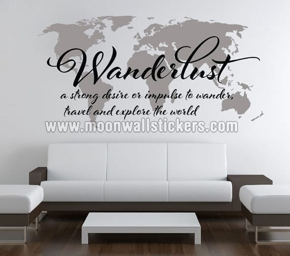 Wanderlust Travel Map Sticker Moonwallstickers Com