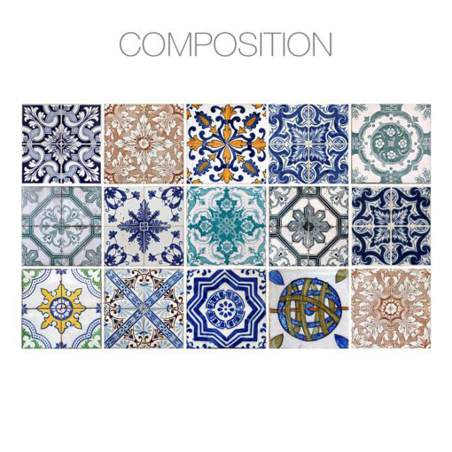 Hydraulic Tiles Stickers - Composition