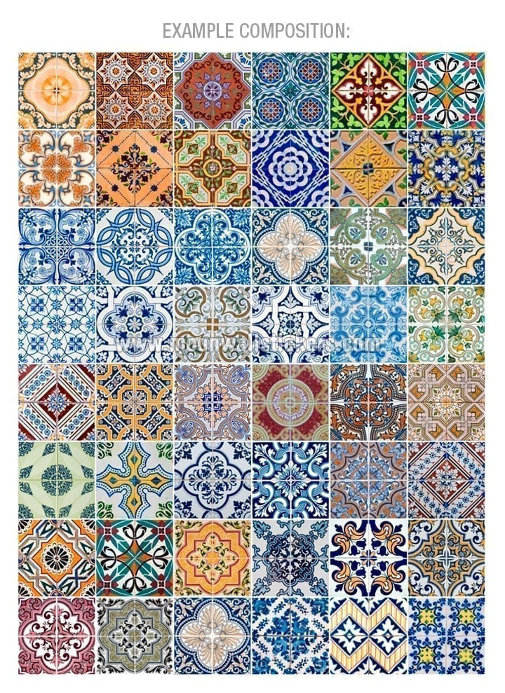 Portuguese tiles azulejos stickers pack of 48 for Azulejos mexico