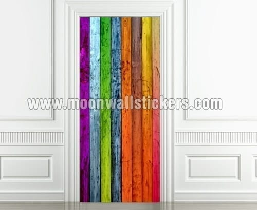 Adhesivo Vinilo Puerta Color Madera Vertical - Moonwallstickers.com