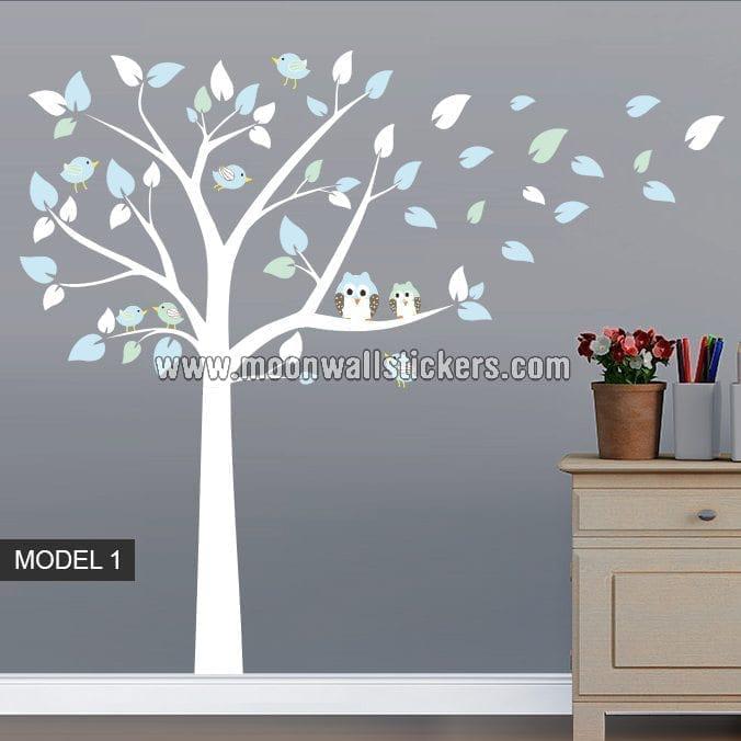 adhesivo vinilo b hos rbol y p jaros. Black Bedroom Furniture Sets. Home Design Ideas
