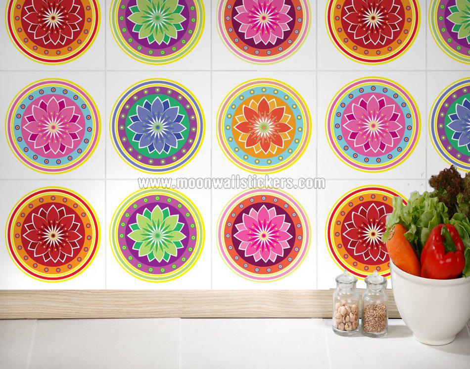 Adhesivo pared azulejo mandalas for Stickers para azulejos cocina
