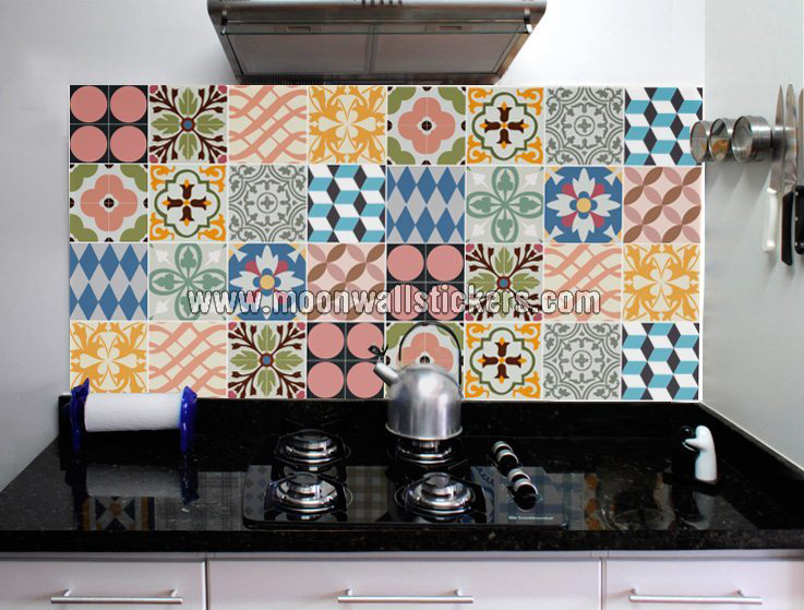 Kitchen tiles stickers traditional for Stickers decorativos para ceramica