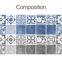 Vogue Blue Wall Tile Stickers - Composition