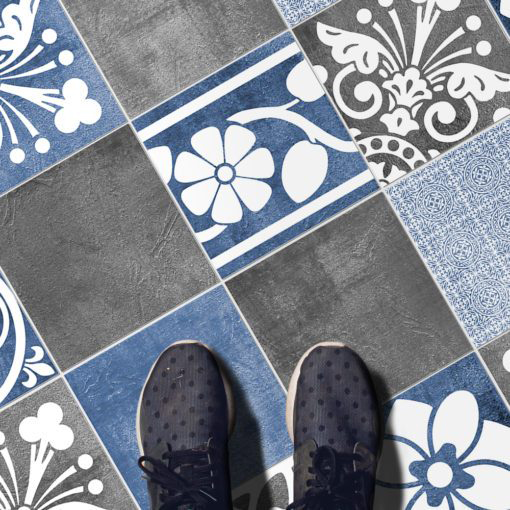 Vogue Blue Wall Tile Stickers - Floor