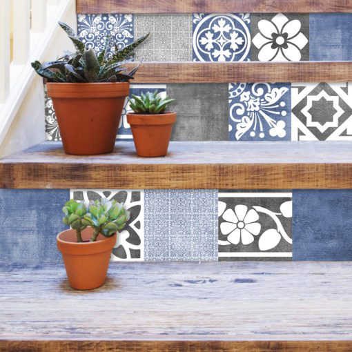 Vogue Blue Wall Tile Stickers - Stairs