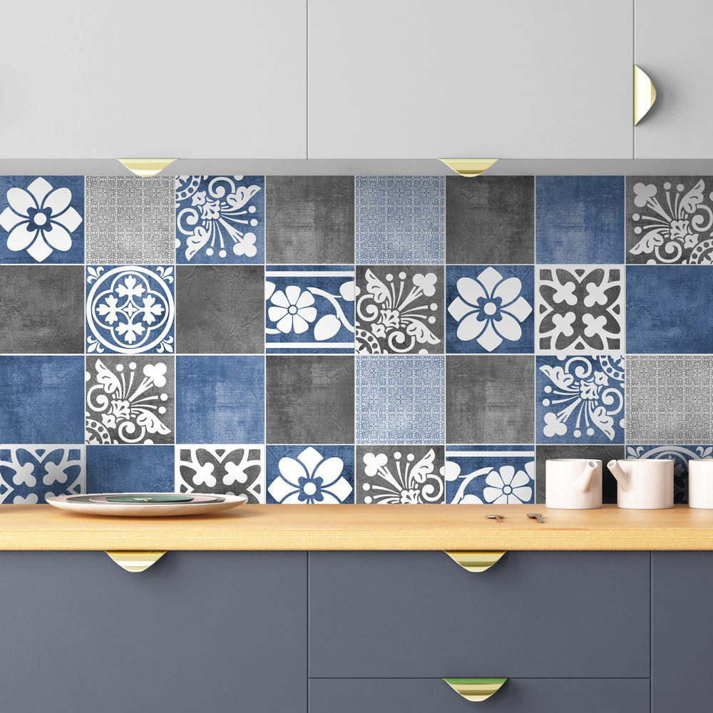 Vogue Blue Wall Tile Stickers Pack Of 56