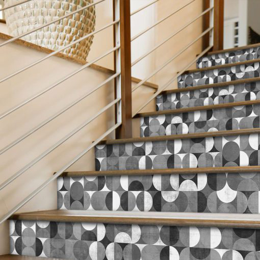 Wall Tile Stickers Mid Century Rounded - Stairs