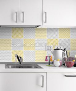 Cover Tiles Stickers Yellow Pattern
