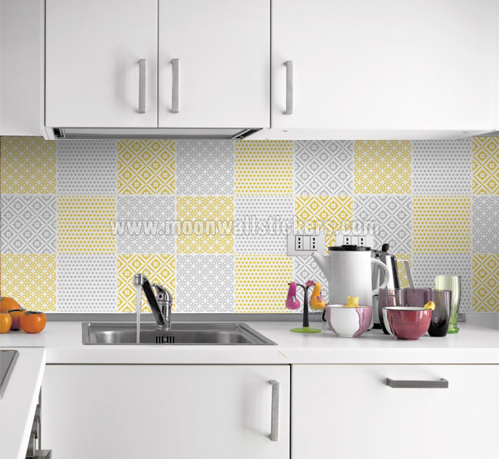 Kitchen Tiles Stickers cover tiles stickers yellow pattern