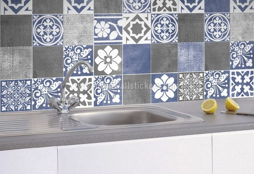 kitchen wall tile stickers sticker muraux d 233 coratif carrelage vogue bleu 6449