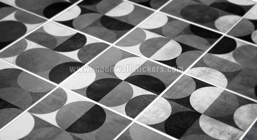 Autocollant carrelage minimaliste arrondie noir et gris for Carrelage autocollant