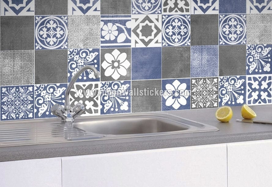 tile stickers bathroom how to apply tile stickers moonwallstickers 14703 | vogue blue wall tile stickers