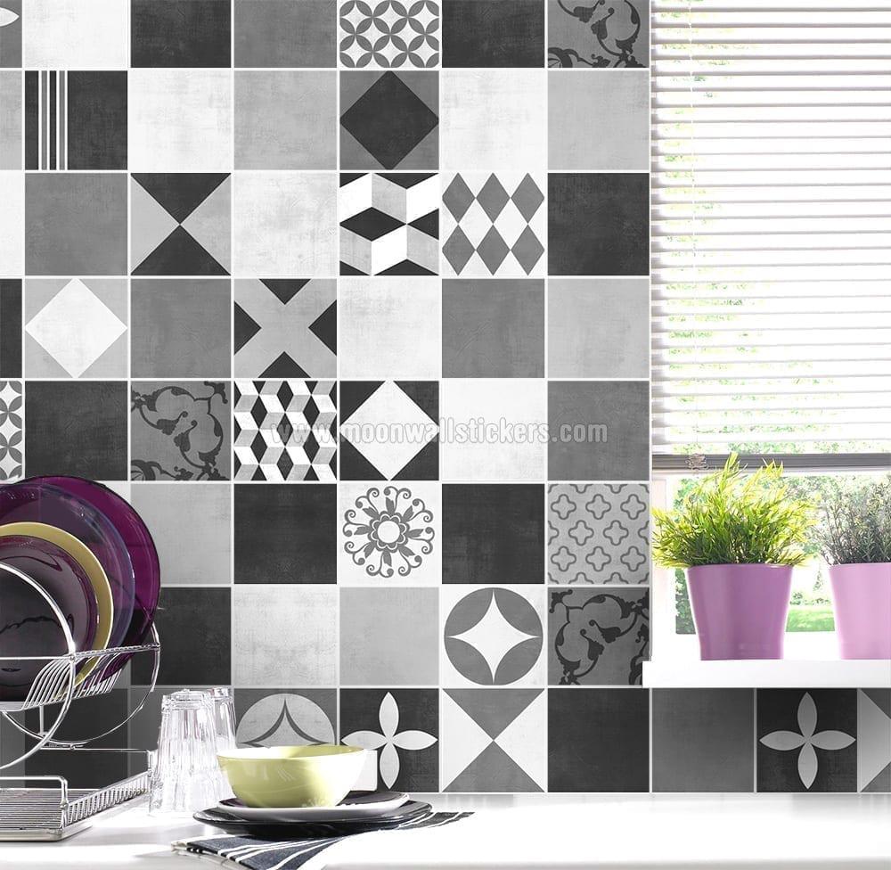 sticker muraux carrelage art graphite g om trique. Black Bedroom Furniture Sets. Home Design Ideas