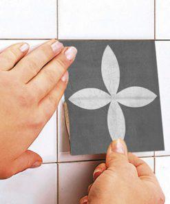 Geometric Graphite Tiles Stickers - Apply